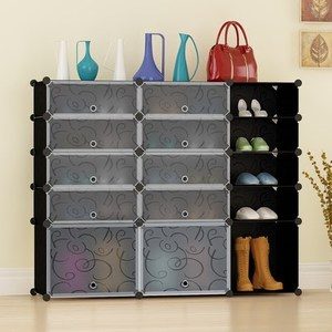 Multi Use DIY Plastic 10 Cube Shoe Rack, 5 Tier Portable Closet Wardrobe Organizer, Bookcase, Shoes Cabinet Storage Tower
