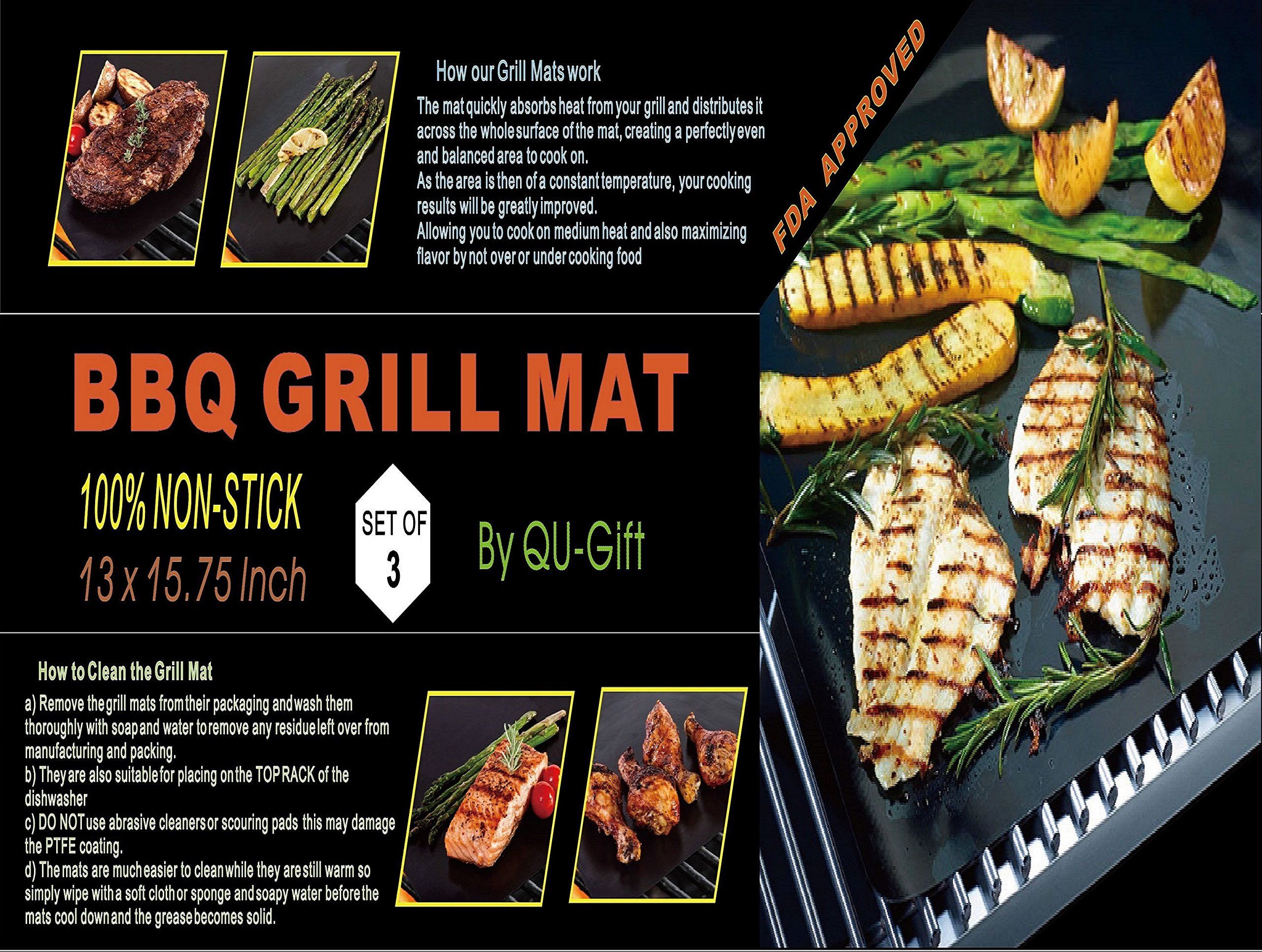 BBQ Mat Oven Liners - Set of 3 - Heavy Duty Non-Stick BBQ Grilling Mats- 15.75 x 13 Inch - Heat Resistant and Dishwasher Safe Use on Gas Charcoal Electric BBQ Grills and Smokers