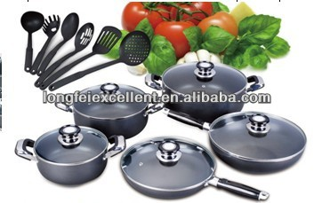 16pcs professional stainless steel and aluminium cookware set