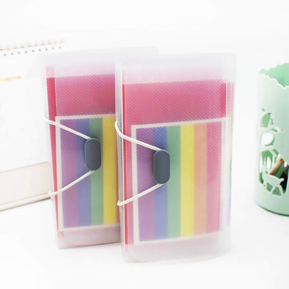 2 Pack A6 Expanding File Folder 13 Pockets Rope Buckle Rainbow Accordion File Organiser, Plastic Storage Expander Wallets Portable File Holder Document Organizer with Label for Receipt - A6 Small Size