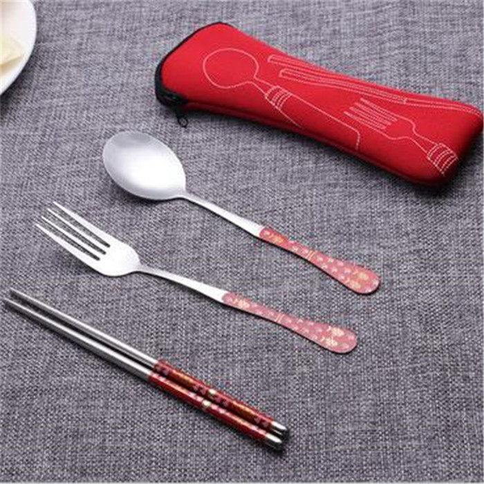 2017 Cutlery Set Spoon Fork Travel Chopsticks Stainless Steel Tableware Kits