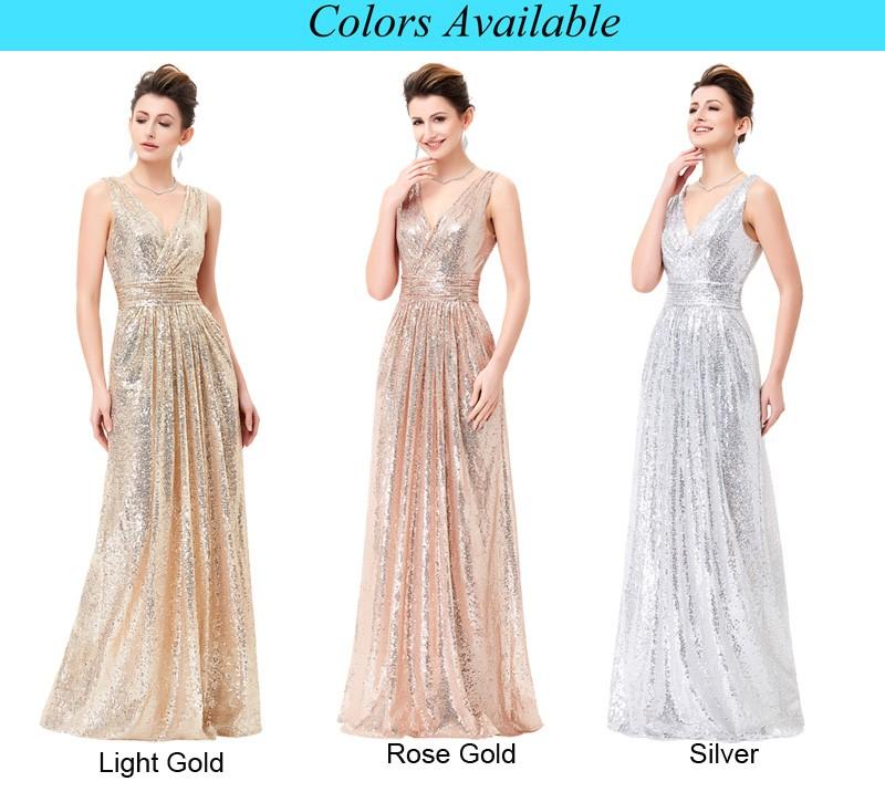 Kate Kasin Sleeveless V-neck Golden Shining Sequined Long Evening ...