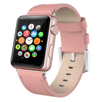 Casual waterproof cowhide Pink leather for apple watch leather band strap