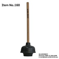 HQ160 black color double layer natural rubber toilet plunger with wooden handle