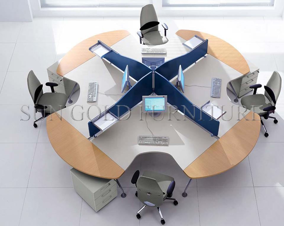 Type rond moderne poste de travail de bureau pour personnes sz