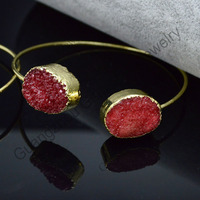 Double Natural Agate Druzy Bangle Fancy Brass Bangle with Gold Plated Solid Stone Bangle