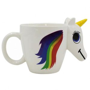 Zogift wholesale gift cold hot color changing magical coffee 3D special unicorn horse shaped animals mugs ceramic cups