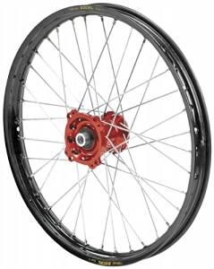 QTM/Brembo Offroad/ATV Complete Rear Wheel - Red Talon Hub/Black Excel Takasago Rim - 2.15x19 , Position: Rear, Color: Red, Rim Size: 19 56-3157RB