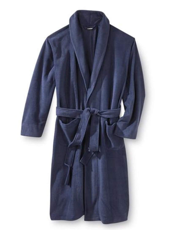 c7ac6c81bd Get Quotations · Joe Boxer Mens Plush Navy Blue Robe Housecoat Bath Robe
