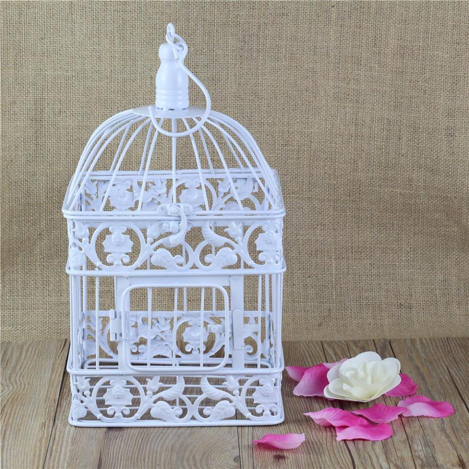 square antique withe decorative birdcage metal bird cage decoration for wedding or home decor in. Black Bedroom Furniture Sets. Home Design Ideas