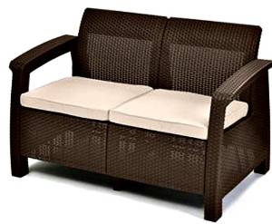 Keter Corfu Durable Yet Natural Looking Patio Loveseat, Brown