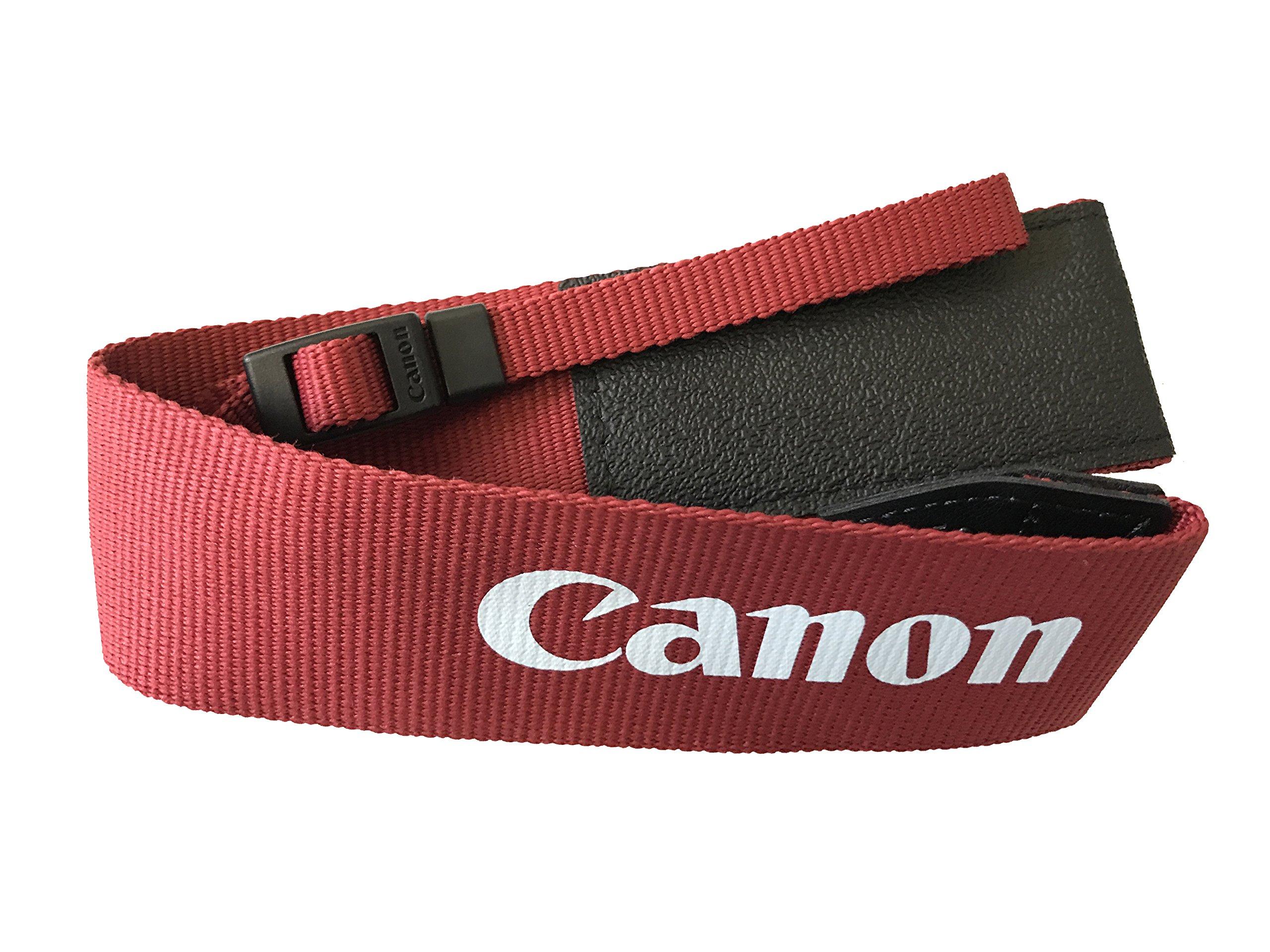 Canon Genuine Original OEM Pro Wide Neck Strap for Canon EOS Rebel T5, T6, SL1, T5i, T6i, T6s, 70D, 80D, 7D Mark II, 5D Mark III, 6D Digital SLR DSLR Cameras - Red Color