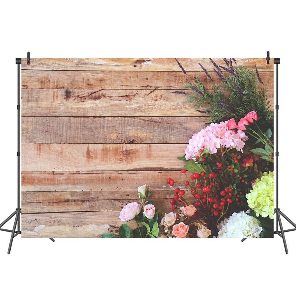 Mehofoto Brown Wood Backdrop Rustic Floral Photography Backdrops Wooden Floor Polyester Photo Background for Birthday Baby Shower Wedding Bridal Shower 7x5