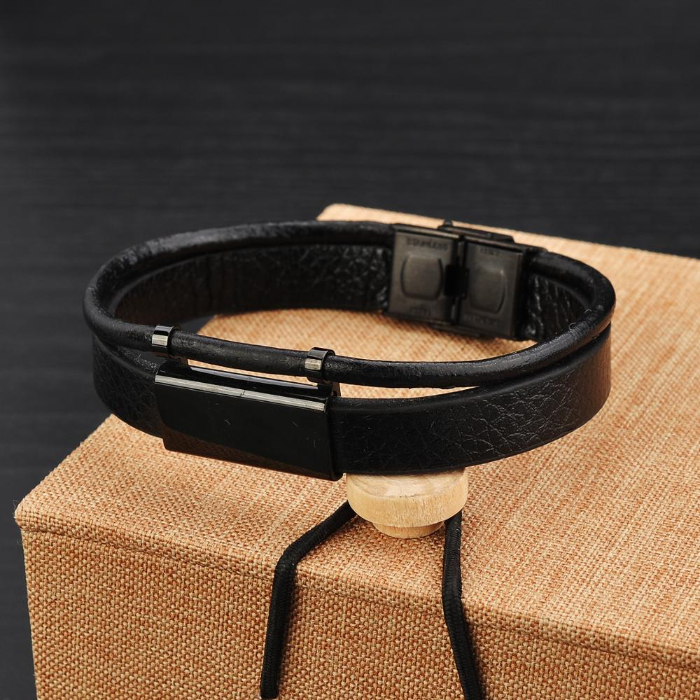 New Design Men Accessories Custom Plain Printed Black Leather Bracelets