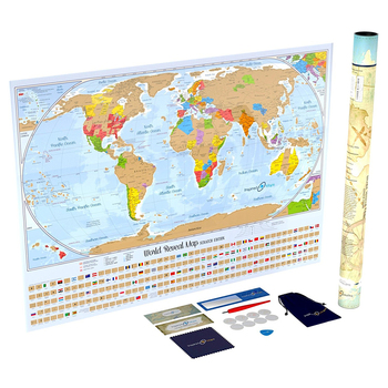 Scratch Off World Map Poster With 232 World Flags U.s. States And ...