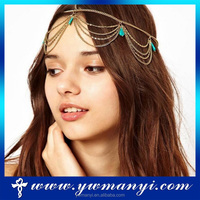Factory wholesale jewelry head chain rhinestone hair accessories for women H0051
