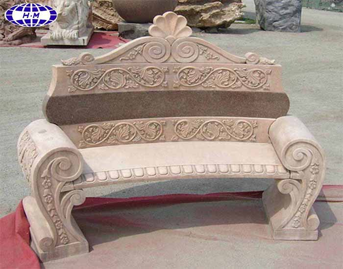 Outdoor China sunset red marble garden stone bench