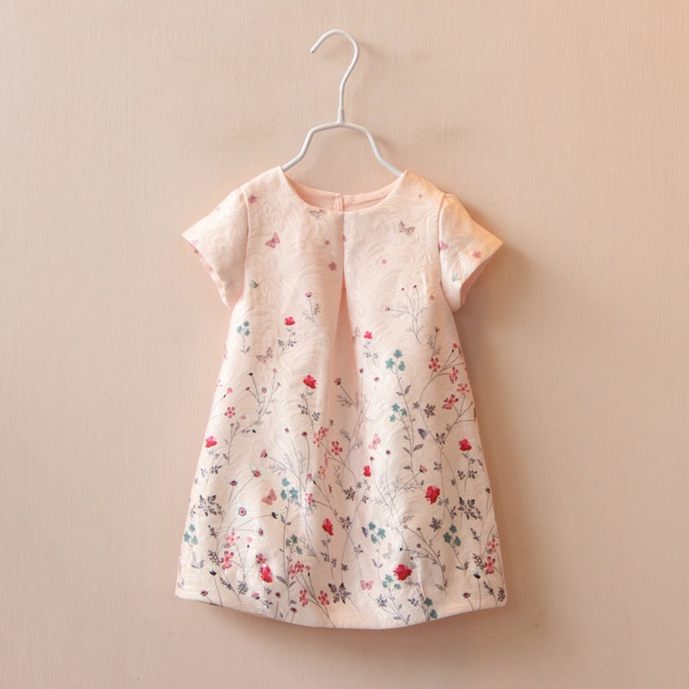 Summer Kids Baby Children s Roupas Dresses Flora Short Sleeve O Neck Princess Girls Dress vestidos