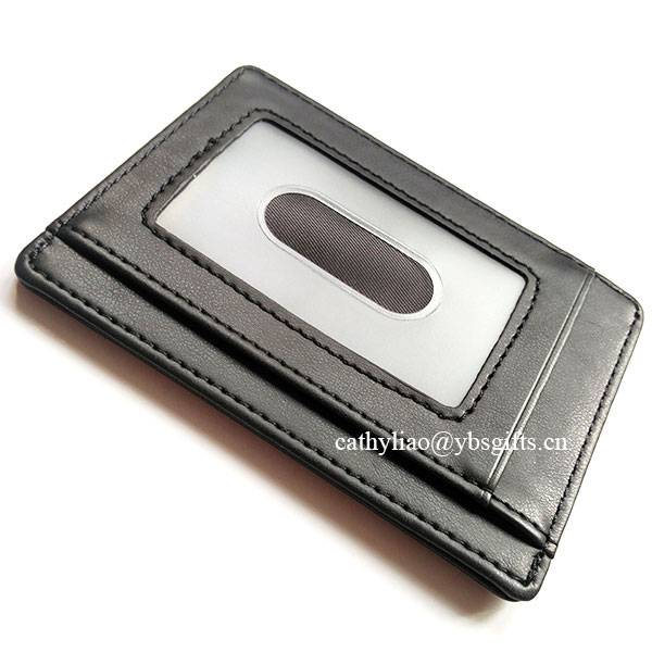 RFID Blocking Genuine Leather Credit Card Holder Front Pocket Wallet With ID Card Window
