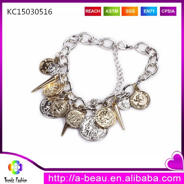 New design gold finish spike elizabeth euro coin charms chain bracelet ebay jewelry