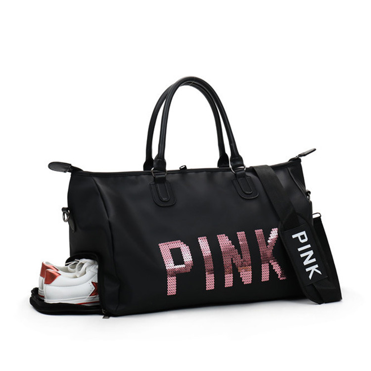 Classic Nylon Duffel Bag Weekender Overnight Bag Carry on <strong>Travel</strong> Tote Sequin PINK Women <strong>Travel</strong> Bag