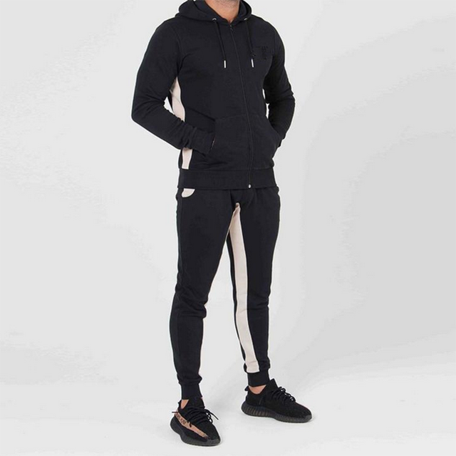 Custom made fashion gym wear blank slim fit tracksuits plain two tone sweat suits for men