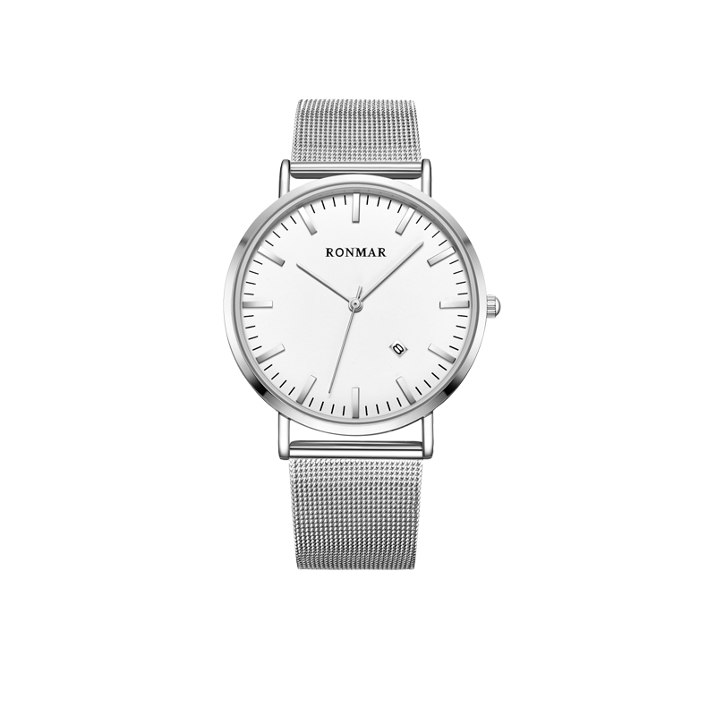 Promotional RONMAR wholesale stainless steel back mesh strap watch from zhanhui professional watch company