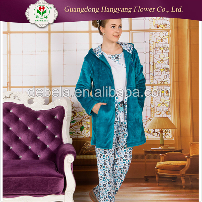 Cheap ladies flannel pajamas set, customized winter knitted adult size pajamas