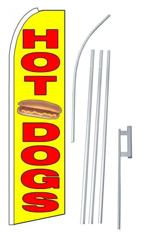 """NEOPlex - """"Hot Dogs (Extra Wide)"""" Complete Flag Kit - Includes 12' Swooper Feather Business Flag With 15-foot Anodized Aluminum Flagpole AND Ground Spike"""