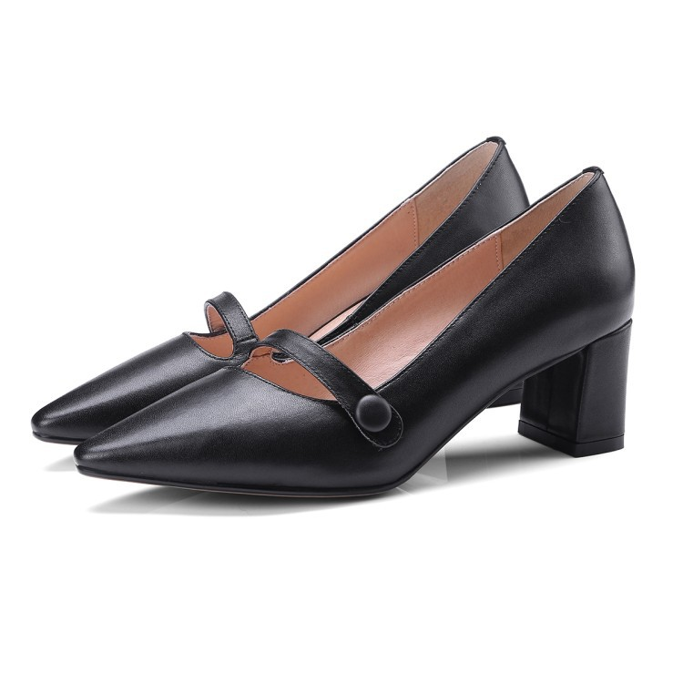 Jane Toe Shoes Shoes Shoes Mary Pointed Block Black Leather Pointed Embellished Leather Leather Heeled Womens Toe Genuine Heel 1SOwPTzcqW