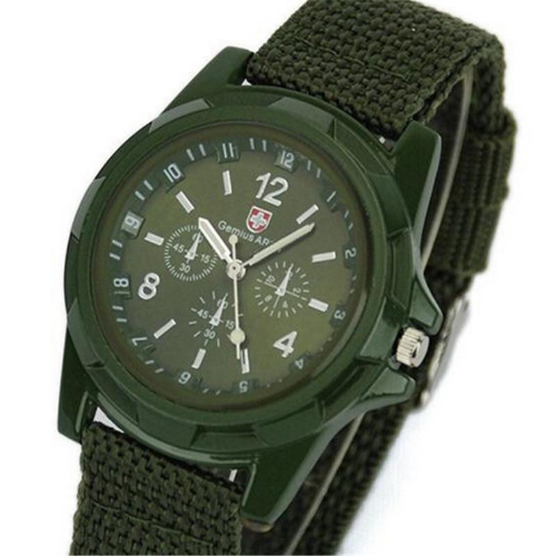 Солдат военный кварцевый брезент ремень ткань часы мужчины на открытом воздухе спорт часы для вилочная часть свободного покроя relogio masculino