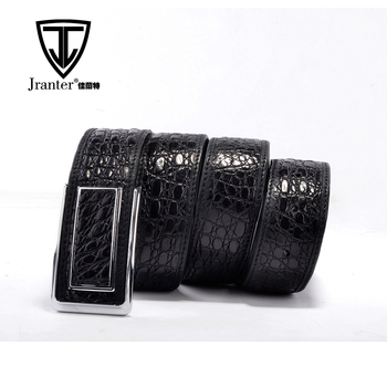 Updated New Fashion Black Genuine Crocodile Mens Leather Belt