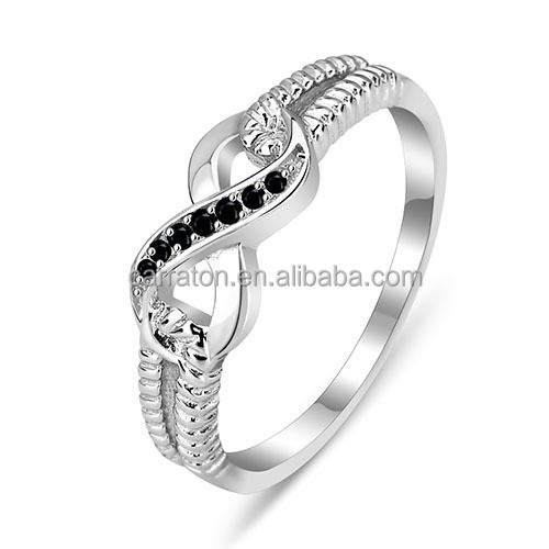 wholesale high quality rhodium plated silver AAA black cz infinity band ring