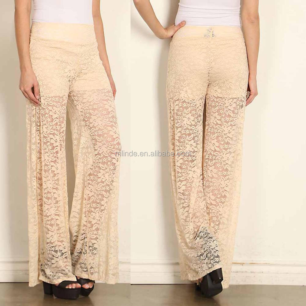 ladies trousers FLORAL PATTERN LACE high waist yoga PALAZZO PANTS