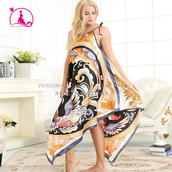 cb7d994462 Silk Nightgown Sleeveless Sling Sleepwear Woman pajamas casual Floral Robe  Nighties Home Clothing Nightdress Plus size