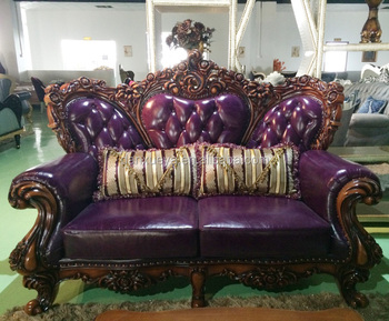 Dubai Antique Oak Sofa Set Purple Leather