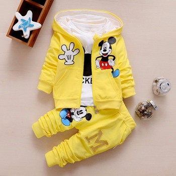 Autumn winter Baby Girls Boys Clothes Sets Cute Infant Cotton Suits Coat+T Shirt+Pants Casual Kids Children Suits