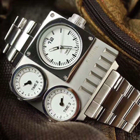 Hot compass watches three time zone gentlemen personality watches for men