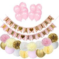 Baby Shower Favors Kit Tissue Paper Pom Poms It's a Girl Garland Pink Balloon for Kids Birthday Decorations Supplies Wholesale