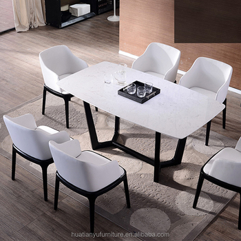 6 Seater Marble Top Wooden Dining Table