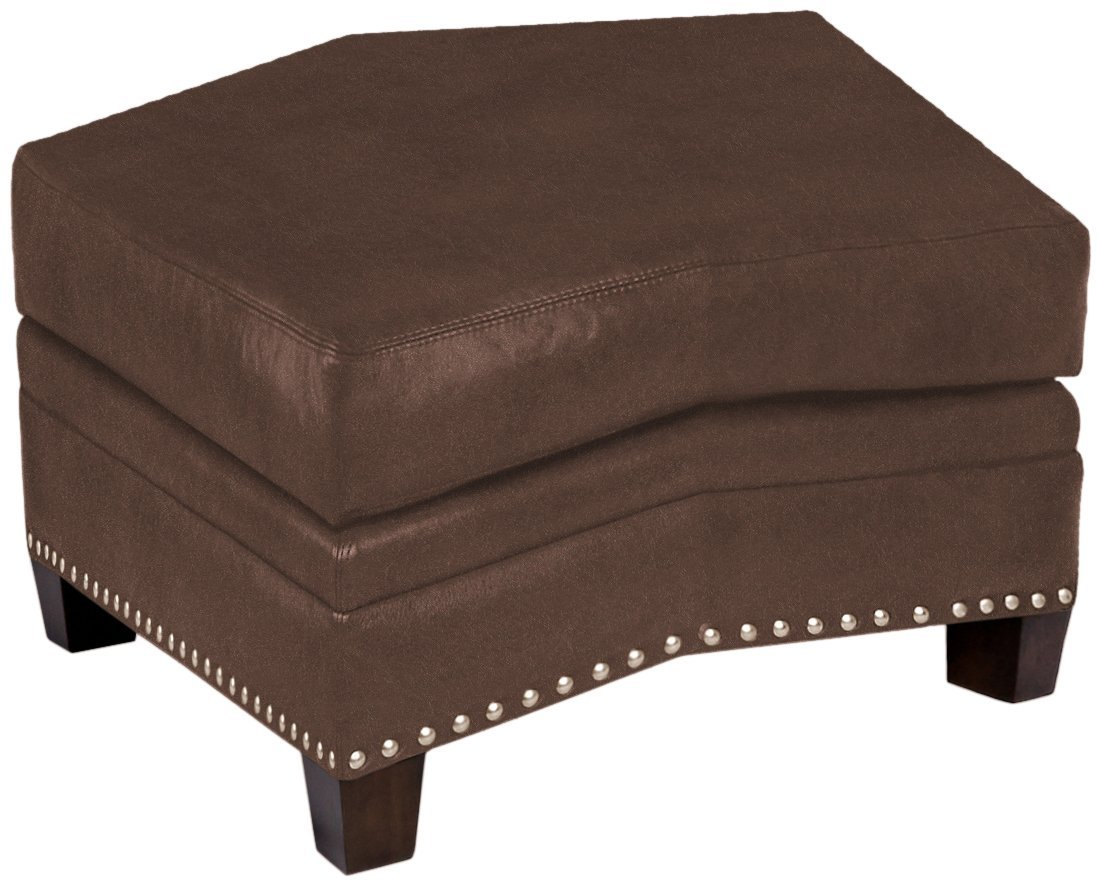 Omnia Leather Glendora Conversation Ottoman in Leather, with Nail Head, Guanaco Dark Brown