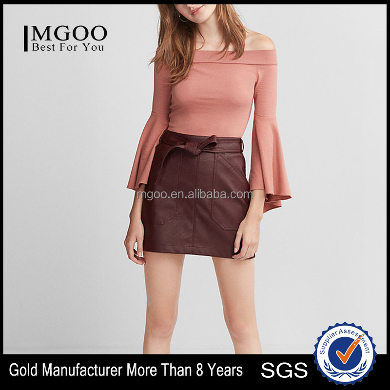 MGOO Custom Blank Fitted Elastic Neckline Tee Shirts Women Off The Shoulder Long Bell Sleeve Top