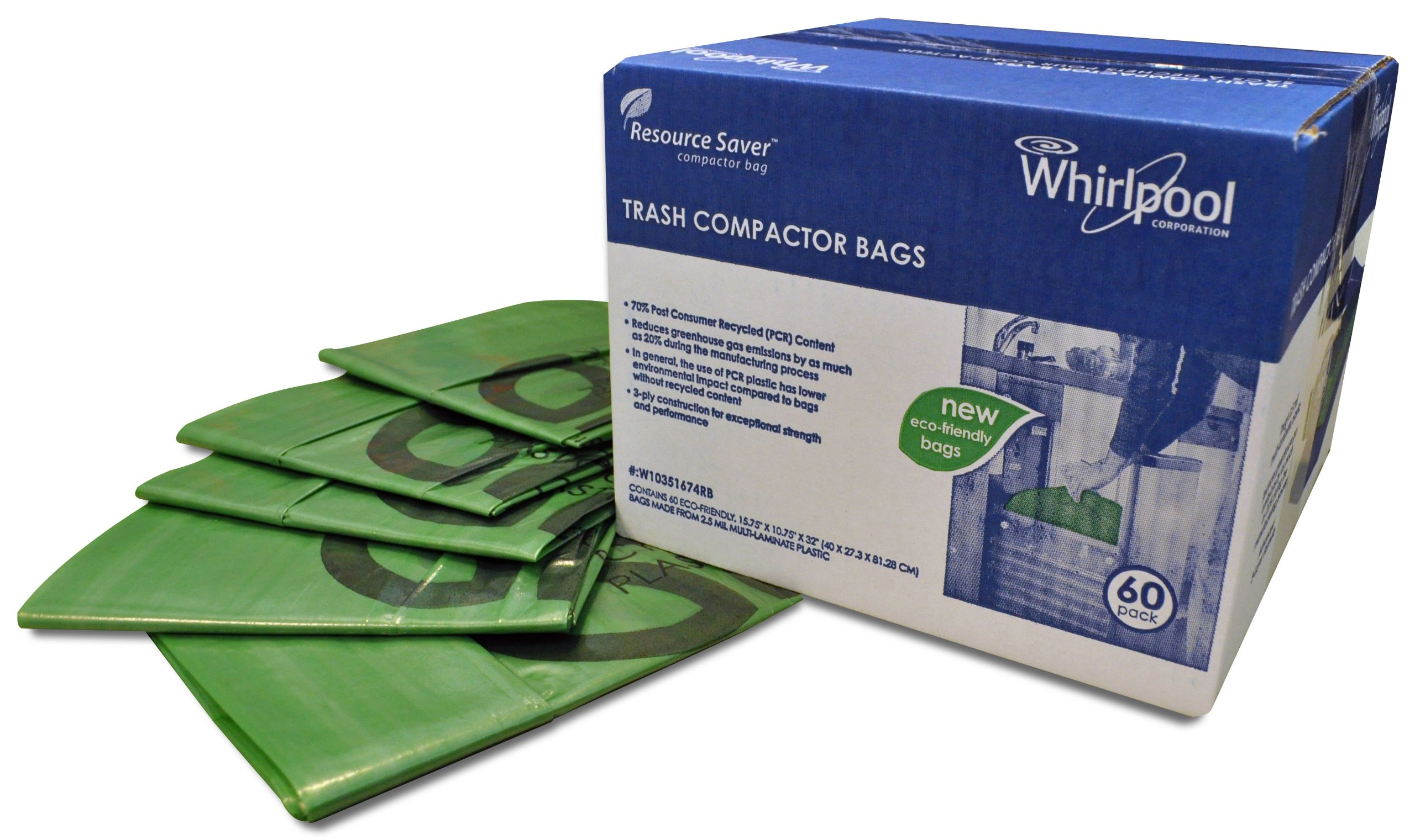 Whirlpool W10165296RP 18 Plastic Compactor Bags 15 Pack