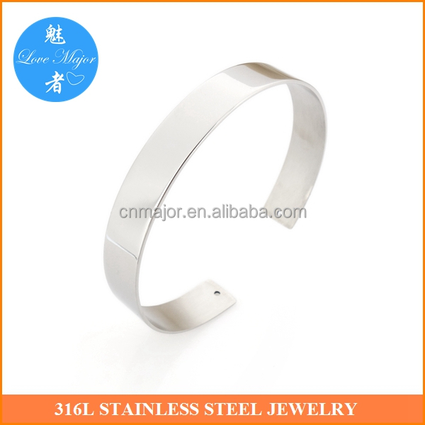 Hot Selling Light Nice Polished Engravable Stainless Steel Bangle Main Part for Fashion Jewelry Findings MJJF-059