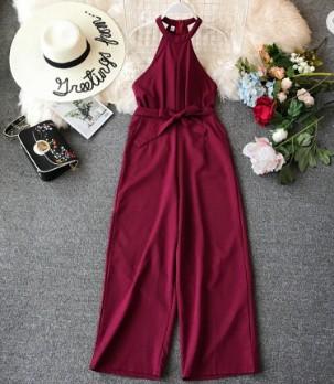 European Ins Fashion Women Floral Print Jumpsuits With Belt