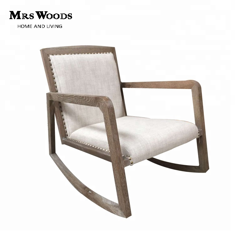 Solid Oak Wood Linen Upholstered Swing Comfortable Porch Rocking