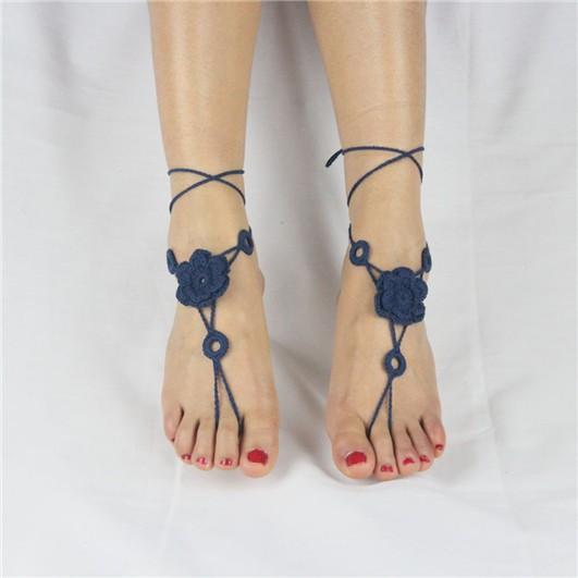 Scarpe Sposa Spiaggia.100 Cotone Crochet Sandali Da Sposa Spiaggia Cavigliere Crochet Sandali A Piedi Nudi Cavigliere Scarpe Ornamento Ukab019 Buy 100 Cotone Crochet