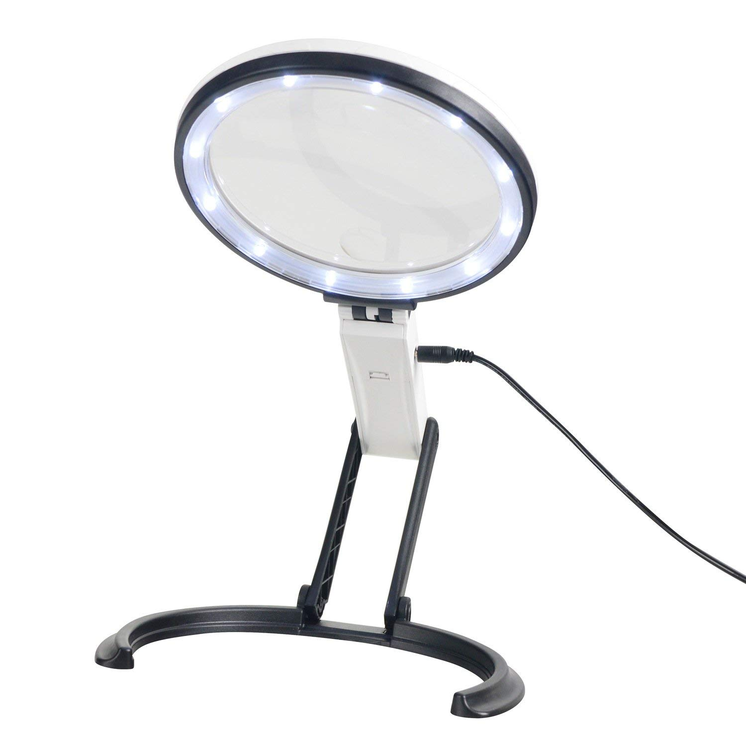 YOCTOSUN 2-in-1 Magnifying Glass with Light, 2X 5X Desktop Magnifying Lamp, Adjustable Handheld Magnifier/Hands Free Magnifying Glass for Reading, Repair, Inspection (USB Lighted)