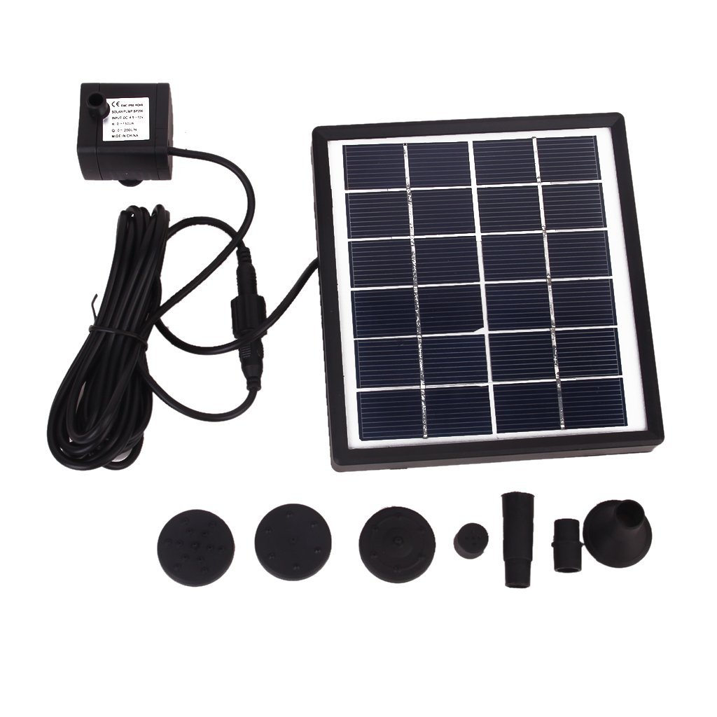 GY-D-0015 Solar Powered Fountain Pool Garden Watering Kits Black, Suitable for Bird Bath, Fish Tank, Small Pond, Garden Decoration, Water Circulation for Oxygen