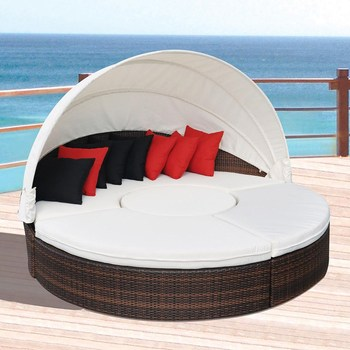 Hot Modern Outdoor Sunbed Lounge Furniture Garden Round Daybed Bed